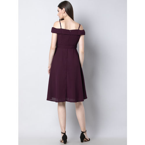FabAlley Women Burgundy Solid Fit and Flare Dress