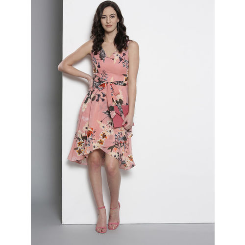 DOROTHY PERKINS Women Dusty Pink & Black Printed Fit & Flare Tulip Dress With Belt