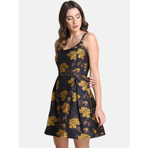 Kazo Women Navy Blue & Gold-Toned Printed Fit and Flare Dress
