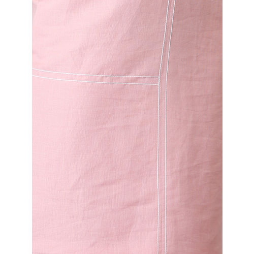 FableStreet Women Pink Solid Linen Shirt Dress