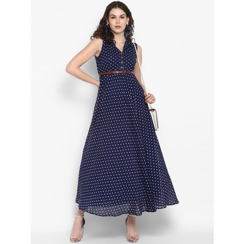 The Vanca Women Printed Blue Maxi Dress