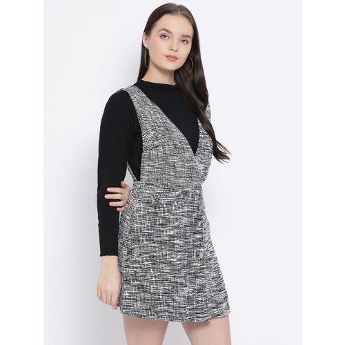 Oxolloxo Women Multicoloured Self Design Pinafore Dress
