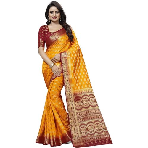 PERFECT WEAR Self Design Banarasi Cotton Silk Saree(Yellow)
