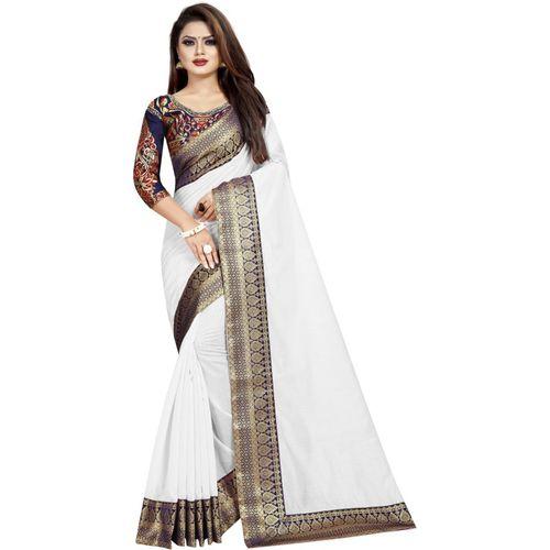 fantasy fab Solid Daily Wear Cotton Silk Saree(White)