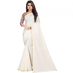 Villagius Checkered Fashion Poly Silk, Cotton Chambray Blend, Cotton Silk Saree(White)