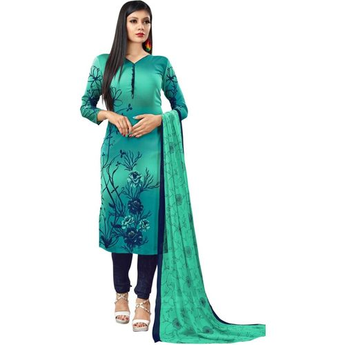 Saara Blue Crepe Floral Print Salwar Suit Material