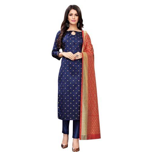 Saara Blue Poly Silk Woven Salwar Suit Material