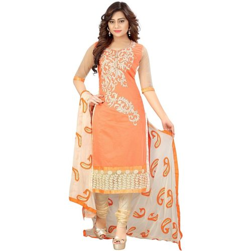 ARSHIMPEX Cotton Embroidered Salwar Suit Material(Semi Stitched)