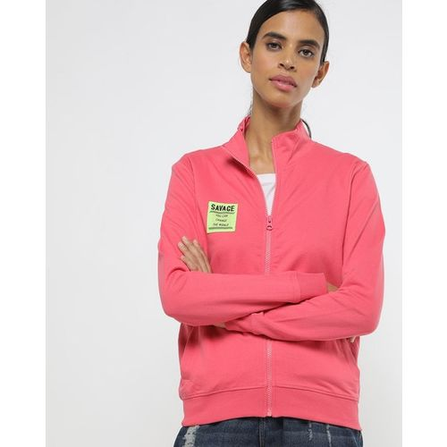 FLYING MACHINE Zip-Front High-Neck Sweatshirt with Typographic Applique