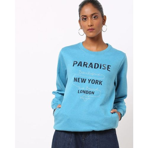 DUKE WOMEN'S Typographic Print Crew-Neck Sweatshirt