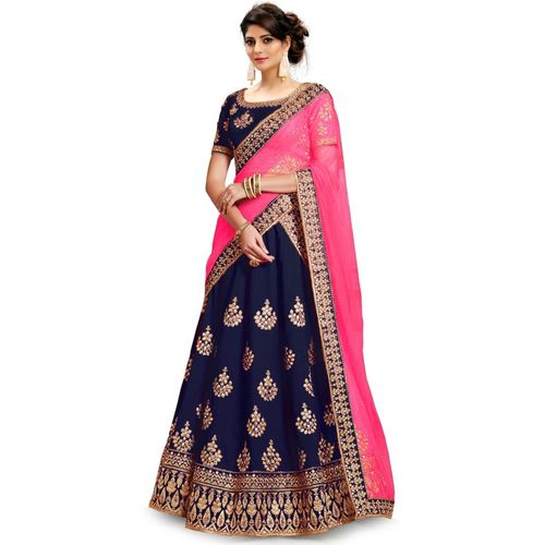 Kedar Fab Blue Embroidered Semi Stitched Lehenga, Choli and Pink Dupatta Set