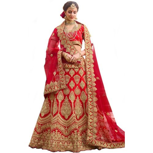 S.B Creation Embroidered Semi Stitched Red Bridal Lehenga Choli