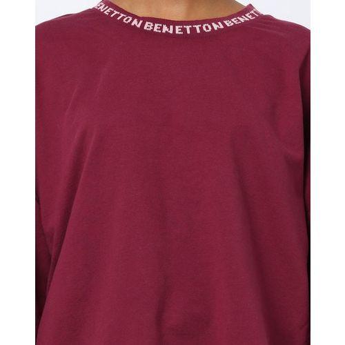 UNITED COLORS OF BENETTON Crew-Neck Sweatshirt with Drop Shoulder Sleeves