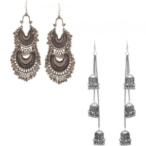 Oxidized Heaven Oxidized Heaven Combo of 2 Designer Afghani Kashmiri Tribal Chandbali Oxidized Dangle Long Earrings for Women and Girls Metal Dangle Earring,
