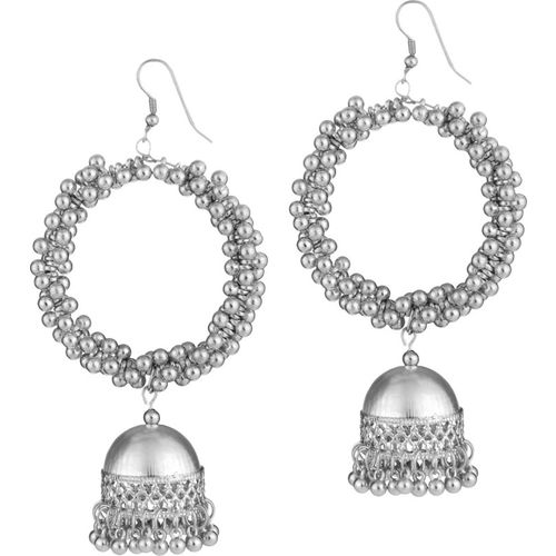 steeplook Beautiful Yet Bold Bright Silver Earrings With Jhumka For Women And Girls - Traditional Bold Fancy Party Wear Earring Alloy Drops & Danglers, Jhumki Earring