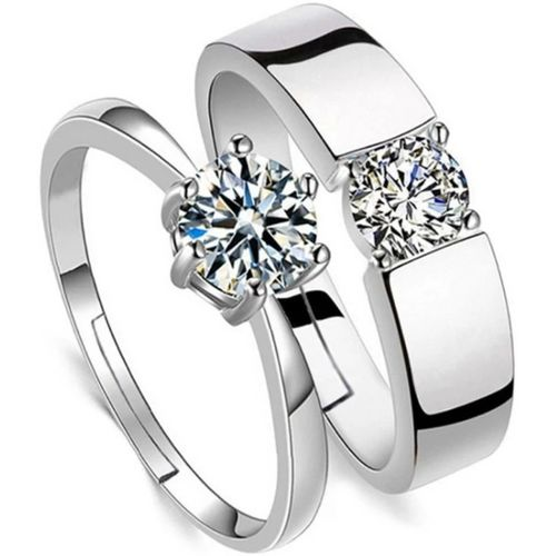 BlueShine Adjustable couple ring set in silver for lovers & Valentine Gift Alloy Silver Plated Ring Set