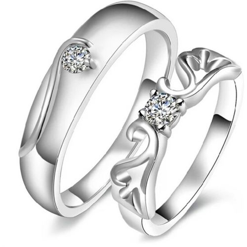 BlueShine Queens Crown Solitaire adjustable Couple ring for your loved one & valentine,Engagement & Wedding Gift Alloy Silver Plated Ring Set