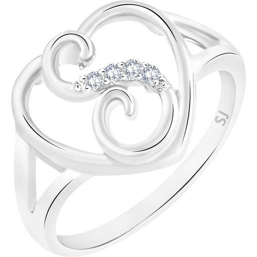 Sukai Jewels Stylish Heart Initial 'S' Alloy, Brass Cubic Zirconia Rhodium Plated Ring