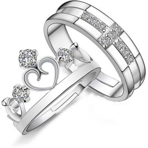Devora King and Queen lovers valentine couple ring Stainless Steel Zircon Rhodium Plated Ring Set