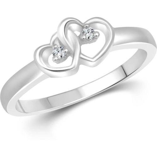 Sukai Jewels Charm Couple Heart Alloy, Brass Cubic Zirconia Rhodium Plated Ring