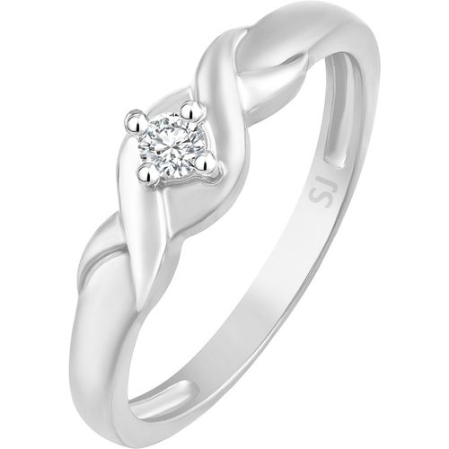 Sukai Jewels Bonded Single Solitaire Alloy, Brass Cubic Zirconia Rhodium Plated Ring