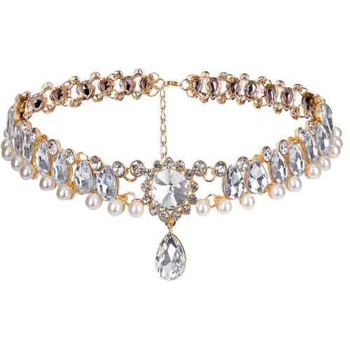 Yellow Chimes Exclusive Sparkling Crystals Studded Pearl Rosegold Plated Designer Crystal, Pearl Gold-plated Plated Metal Choker