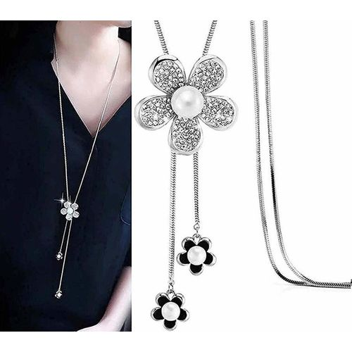 Shining Diva Crystal Flower Long Chain Pendent Pendant Necklace Pearl Alloy Necklace