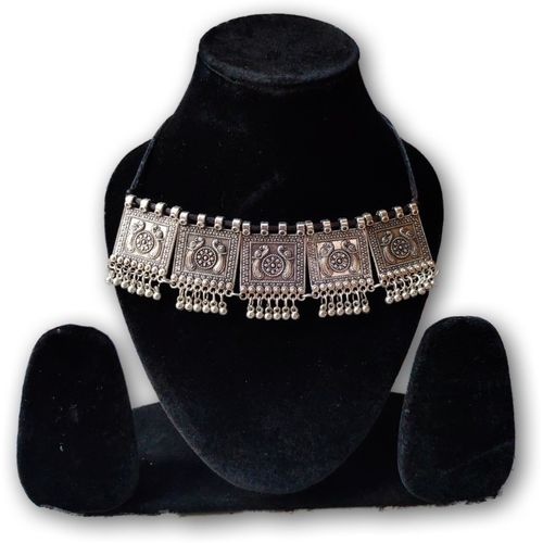 Nityakshi Oxidized Peacock Design Metallic Finish Bohemian Style Boho Choker Necklace For Women & Girls | Women Oxidized Silver Choker Necklace | Choker