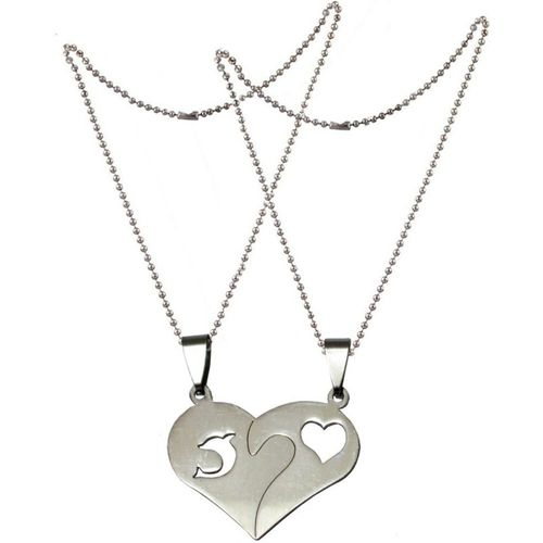 Men Style Couples His And Her Heart And Fish SPn011038 Stainless Steel Pendant Set