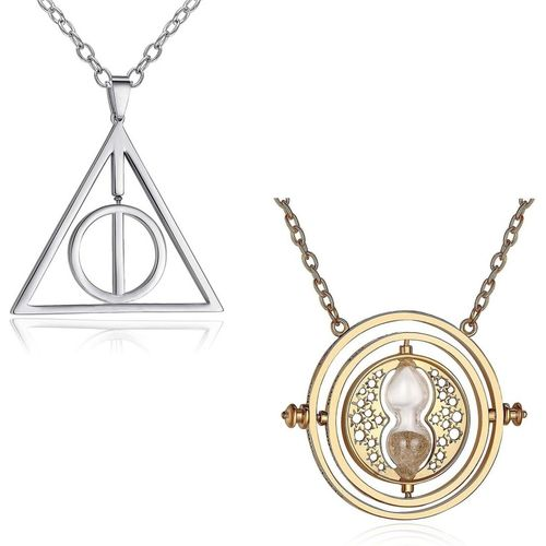 Yellow Chimes Combo Of 2 Pcs Famous Harry Potter Deathly Hallows Time Turner Pendants Silver Metal Pendant
