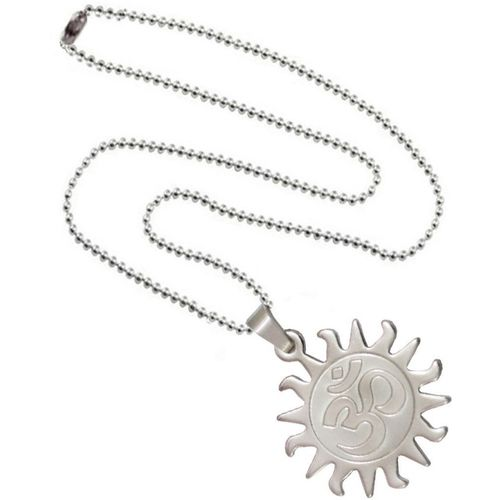 Shiv Jagdamba Om Surya With Chain SPn005024 Sterling Silver Stainless Steel Pendant