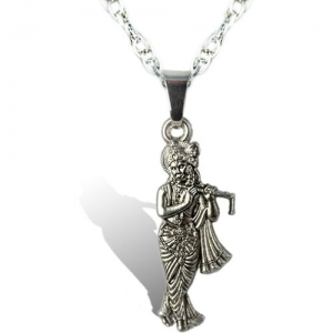 Waama Jewels Silver Plated Lord Krishna Pendant/Locket with Designer Silver Chain for Men & Boys Silver Brass Pendant