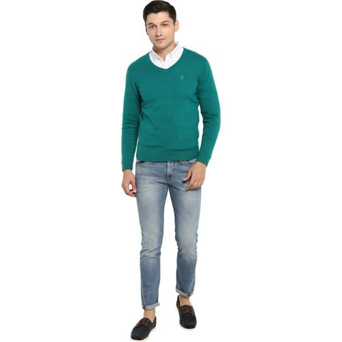 Red Tape Solid V Neck Casual Men Green Sweater