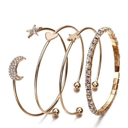 Jewels Galaxy Alloy Cubic Zirconia Gold-plated Bracelet(Pack of 4)