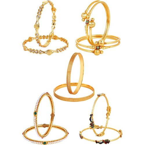 You Bella Alloy Gold-plated Bangle Set(Pack of 10)