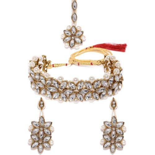Zaveri Pearls Zinc Jewel Set(Gold, White)
