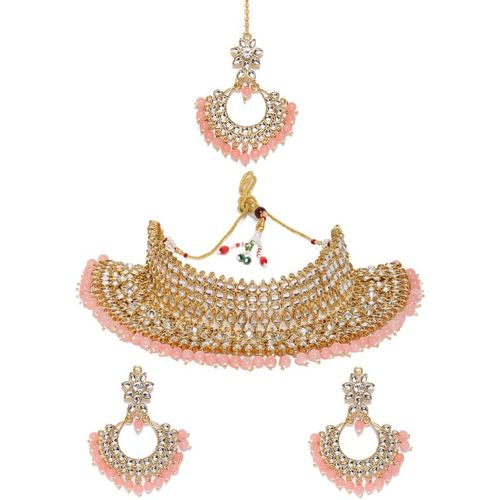 Zaveri Pearls Zinc Jewel Set(Pink, Gold)