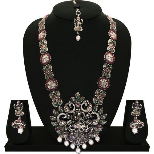 Matushri Art Zinc, Brass Jewel Set(Red, Green)
