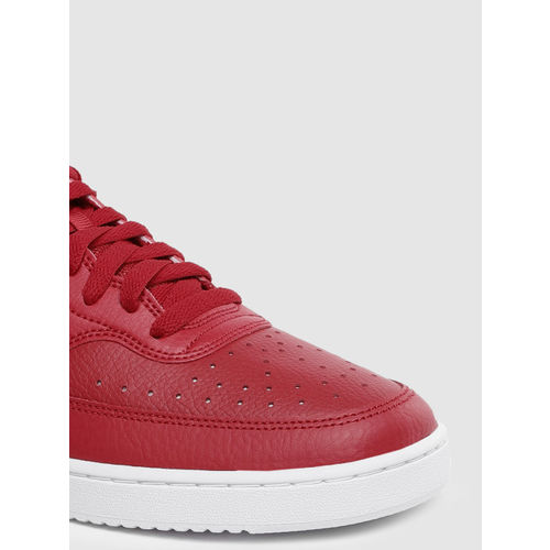 Nike Men Red COURT VISION LO Leather Sneakers