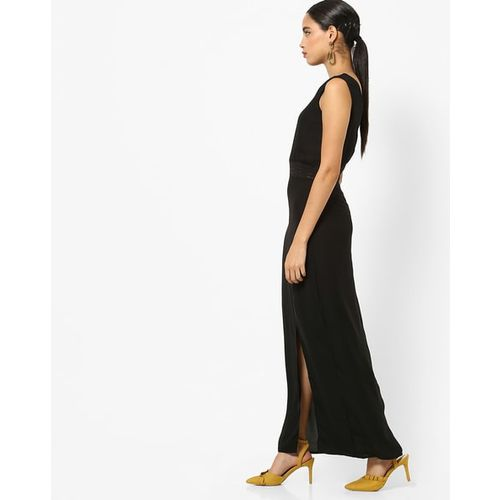 Rare Panelled Maxi Dress with Front Split