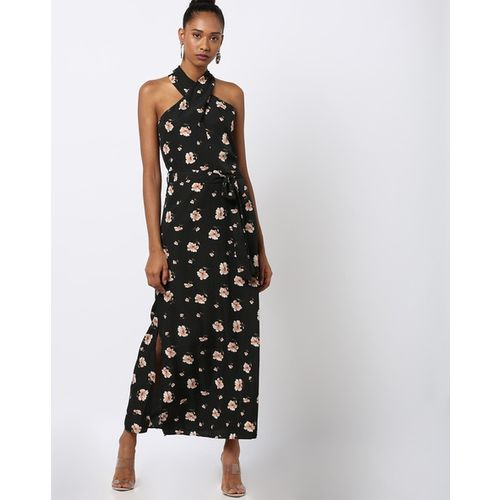 Rare Floral Print A-line Maxi Dress with Cutaway Shoulders