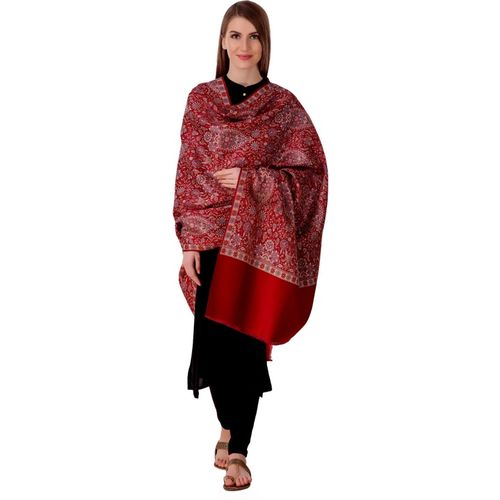 Bravezi Polyester Wool Blend Self Design Women Shawl(Maroon)