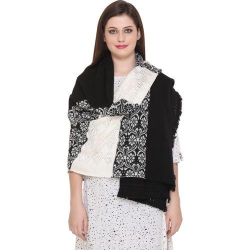 WALMORA Acrylic Self Design Women's Shawl(Black)
