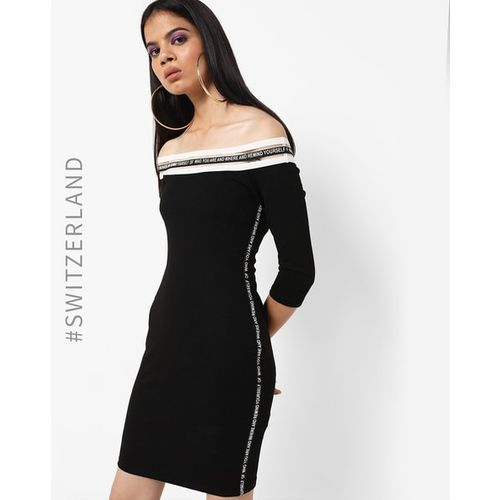 TALLY WEiJL Typographic Off-Shoulder Bodycon Dress