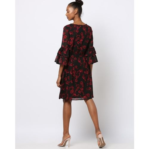 Rare Floral Print A-line Dress with Ruffled Sleeve Hems
