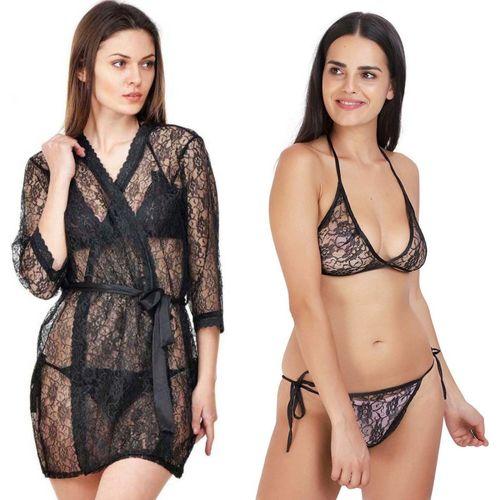 Lovie's Women Robe and Lingerie Set(Black, Black)