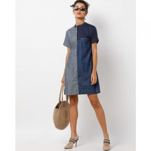 Freakins Colourblock A-line Dress with Band Collar