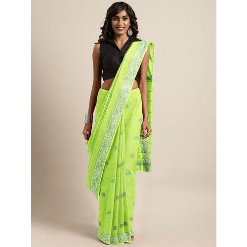 The Chennai Silks Classicate Green Woven Design Pure Cotton Saree
