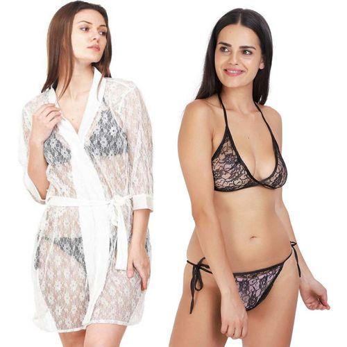Lovie's Women Robe and Lingerie Set(White, Black)