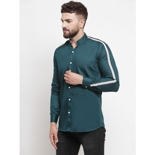 BOSQUE Men Striped Casual Dark Green Shirt